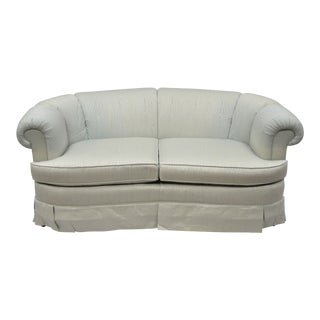 Henredon Schoonbeck Upholstered Curved Loveseat Short Sofa 66 Rolled Arms A