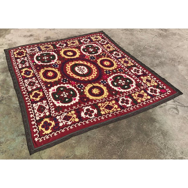 Boho Chic Antique Handmade Suzani Dark Red Tapestry For Sale - Image 3 of 5