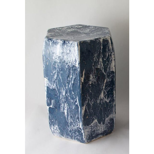 The garden stool is shown with our Navy Drip brushed glaze. Handmade. Signed by Paul Schneider. Lead time five weeks....