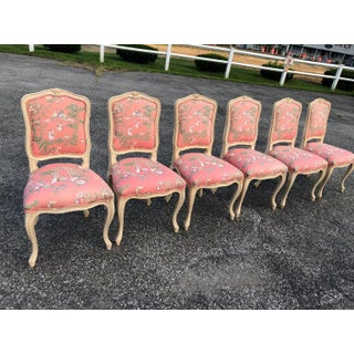 Set of 6 French Provincial Chairs With Chinoiserie Upholstery Preview