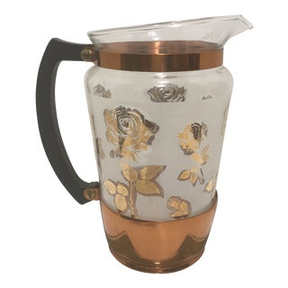 1950s Mid Century Modern Copper Rose Detailed Ice Pitcher