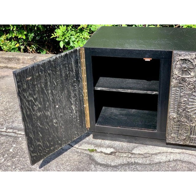 """Adrian Pearsall for Craft associates """"Sculpted Bronze"""" brutalist credenza The lower case of rectangular form with a..."""