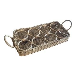 Vintage Wicker Rattan Drink Caddy Carrier Tray