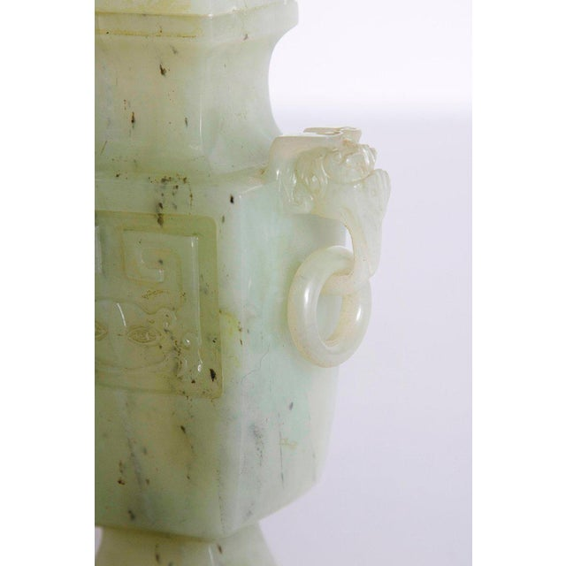 Early 19th Century Late 19th / Early 20th Century Pale Celadon Jade Vase & Cover, China, Qing Dynasty For Sale - Image 5 of 13