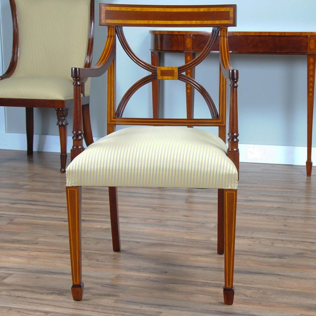 Brown Sheraton Inlaid Mahogany Arm Chairs - A Pair For Sale - Image 8 of 9
