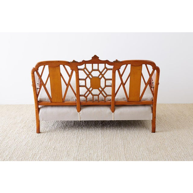 English Chinoiserie Chippendale Style Pagoda Top Settee For Sale - Image 12 of 13