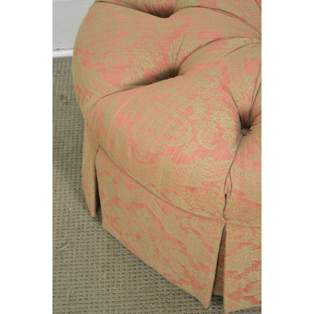 Traditional Custom Upholstered Round Tufted Ottoman For Sale - Image 3 of 11