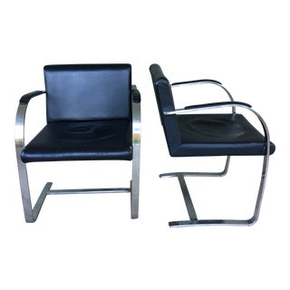 1970s Vintage Brno Style Flat Bar Cantilever Chairs- A Pair For Sale