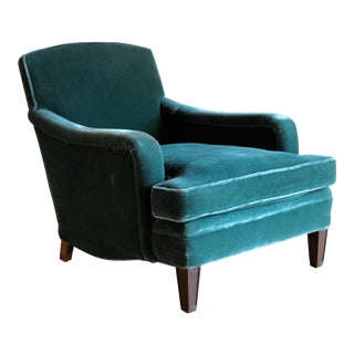 1950s Vintage Emerald Mohair Velvet Club Chair For Sale