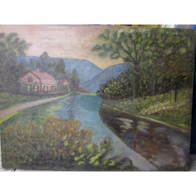 Farmhouse 19th Century Antique Outsider Art Rural Landscape Oil on Canvas Painting For Sale - Image 3 of 11