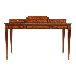 Theodore Alexander Leather Top Burlwood Desk For Sale