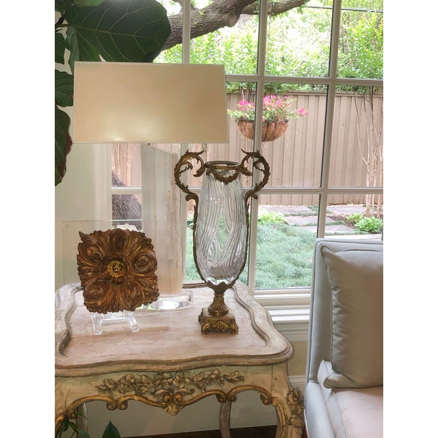 A French sculptured bronze crystal faceted vase with scroll handles. Circa 1890.