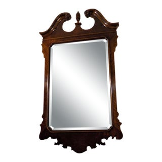 Drexel Heritage Heirlooms Chippendale Flame Mahogany Wall Mirror For Sale