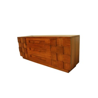 Mid Century Young Manufacturing Co. Brutalist Walnut Credenza Triple Dresser For Sale