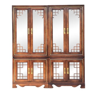 Asian Inspired Curio/China Cabinets - a Pair For Sale