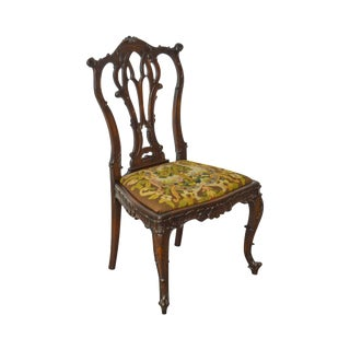 Rococo Style Antique Carved Mahogany Needlepoint Side Chair For Sale