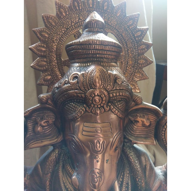 Gorgeous Bronzed All Metal Lord Ganesh Statue - Image 3 of 7