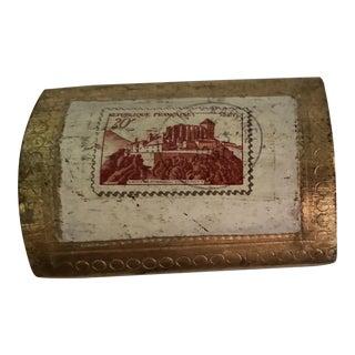 1960s Gilt Italian Florentine Stamp Box For Sale