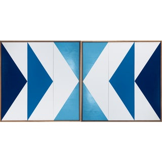 "Original Acrylic Painting ""Double Blue Arrow Triptych Jet0562"""