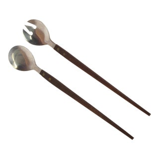 Mid-Century Modern Rosewood & Stainless Salad Servers - 2 Pc. Set For Sale