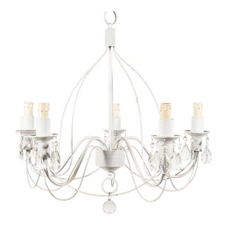 Vintage 5-Light Metal Candelabra Chandelier With Attached Crystals, Electric For Sale
