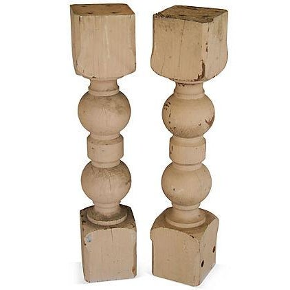 Large 1940s Carved Wood Corbel Columns - A Pair - Image 1 of 3