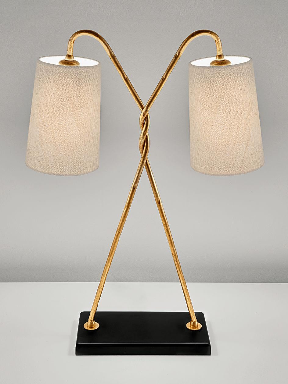 Art Deco Florentine Antique Gold Leaf Table Lamp With Shade Chairish