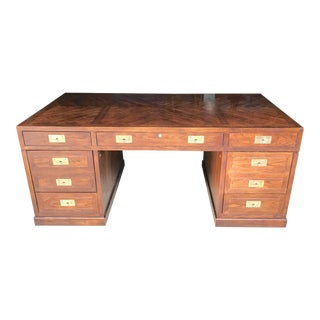 1970s Campaign Henredon Desk With Brass Pull Details For Sale