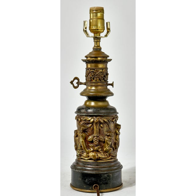 1930's Brass Table Lamp With a Cherub's in the Forest Tableau For Sale - Image 4 of 13