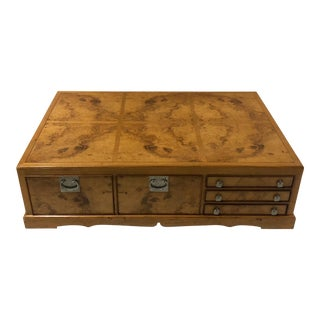 Large Scale Burl Campaign Style Coffee Table For Sale