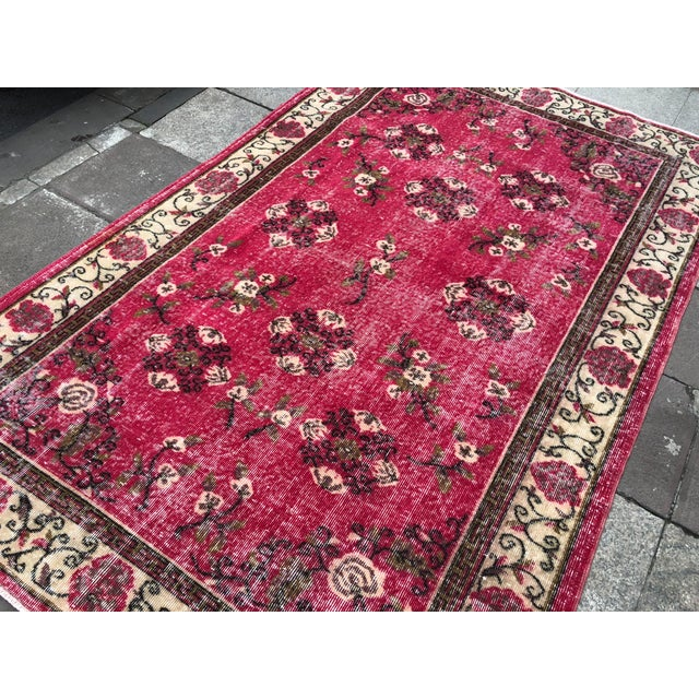 1960s 1960s Vintage Turkish Oushak Hand-Knotted Rug - 5′2″ × 8′2″ For Sale - Image 5 of 11