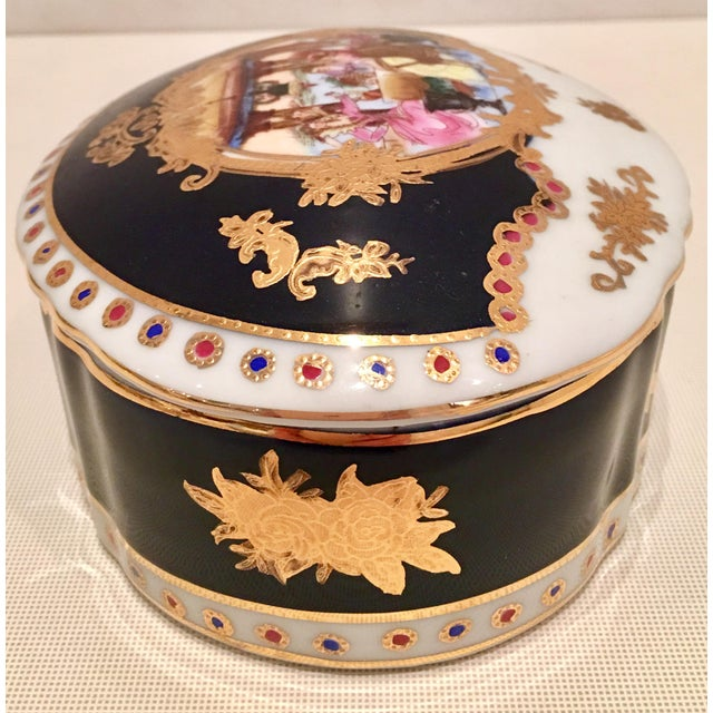20th C. French Sevres Limoges Style Cobalt & Gold Tray & Box - Image 4 of 11