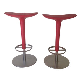 Red Counter Stools- A Pair For Sale
