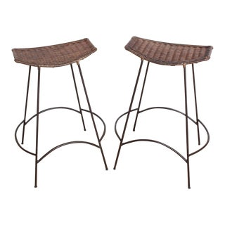 Arthur Umanoff Iron and Wicker Bar Stools- A Pair
