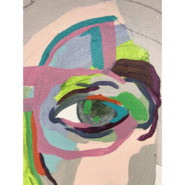 """Contemporary Abstract Portrait Painting """"From Another Perspective, No. 2"""" - Framed For Sale In Detroit - Image 6 of 11"""