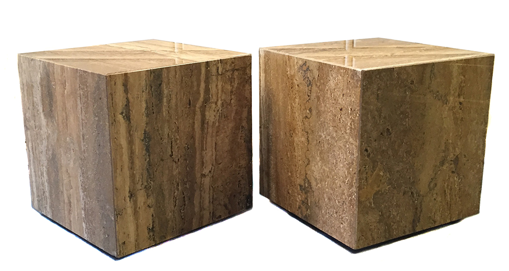 Modernist Stone Cube End Tables   Pair