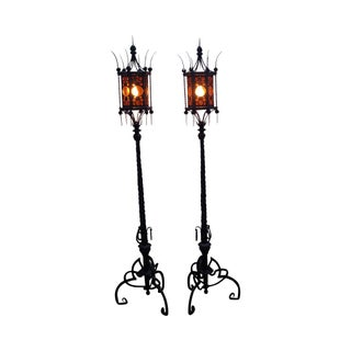 Antique Wrought Iron Torchiere Floor Lamps - A Pair For Sale