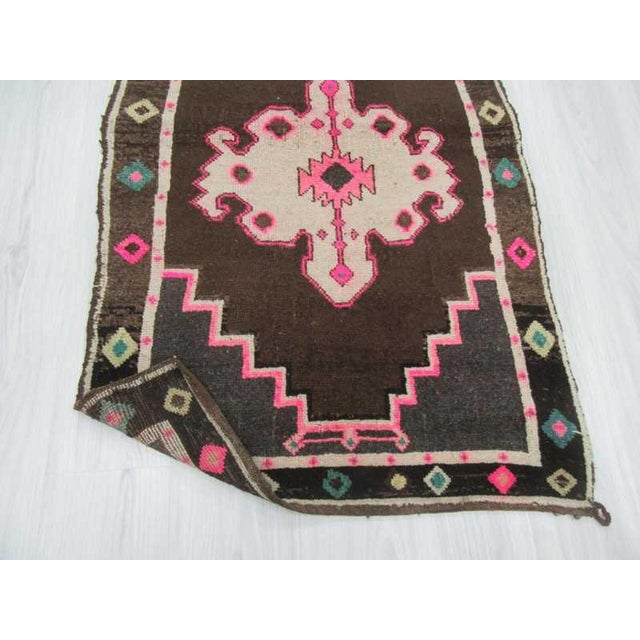 Vintage handknotted small decorative Turkish Kars area rug For Sale In Los Angeles - Image 6 of 6