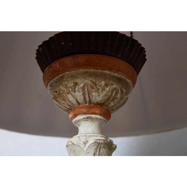 Louis XVI Carved and Painted Alter Candlestick Lamp For Sale In Atlanta - Image 6 of 9