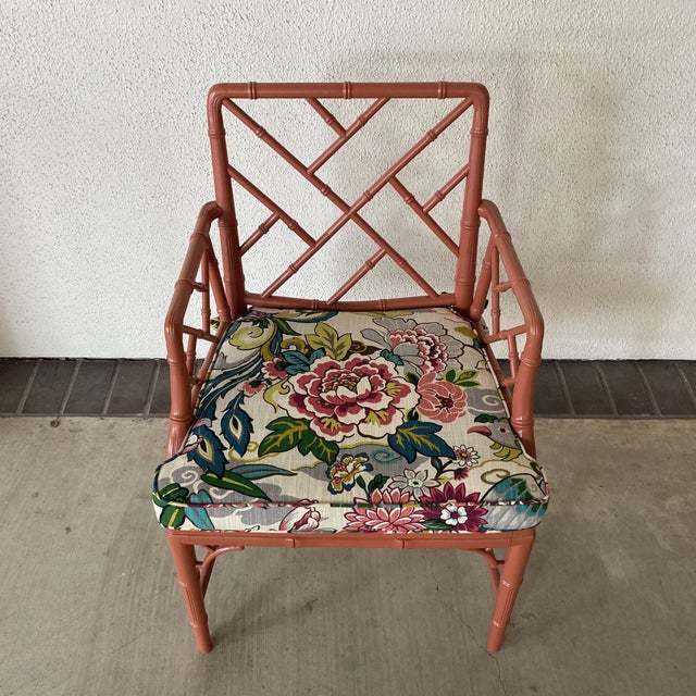 Salmon Vintage Chinoisere Chair For Sale - Image 8 of 8