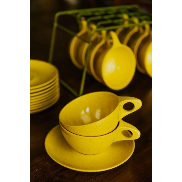 Holiday by Kenro Yellow Cups and Saucers - Set of 10 For Sale - Image 4 of 10