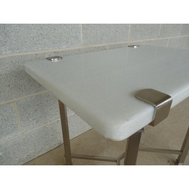 Aluminum Bernhardt Furniture Designer Modern Style Marble Top Accent Table For Sale - Image 7 of 12