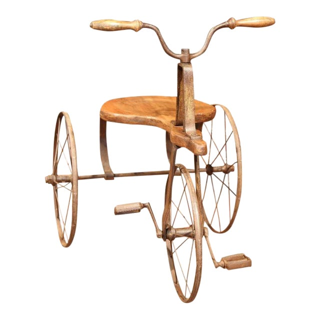 19th Century French Iron and Wood Tricycle in Wonderful Working Condition For Sale