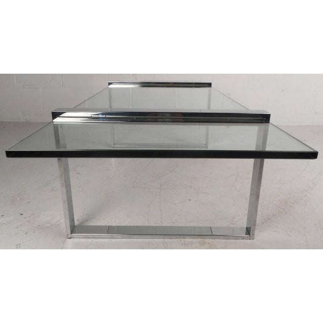 1970s Milo Baughman Style Mid-Century Modern Chrome Coffee Table For Sale - Image 5 of 7