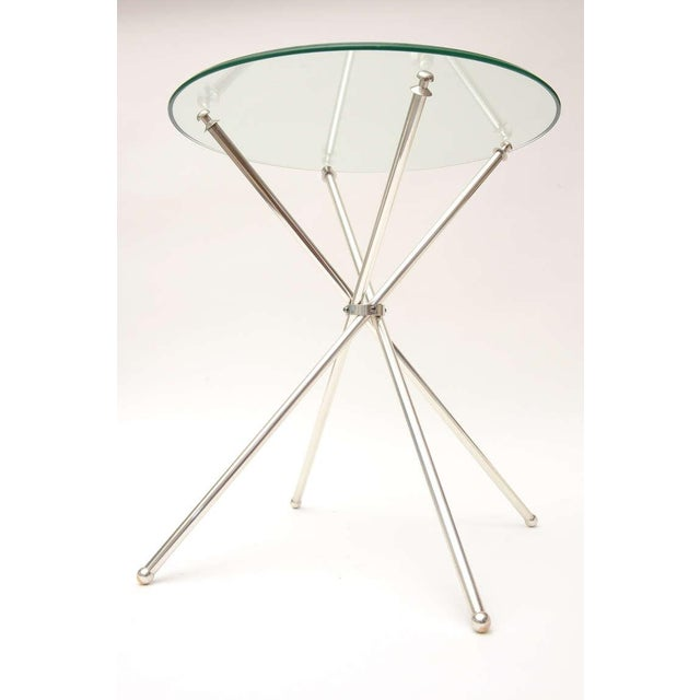 1960s Pair of Vintage Tripod Folding Silver-Plate Side/Drink Tables For Sale - Image 5 of 10