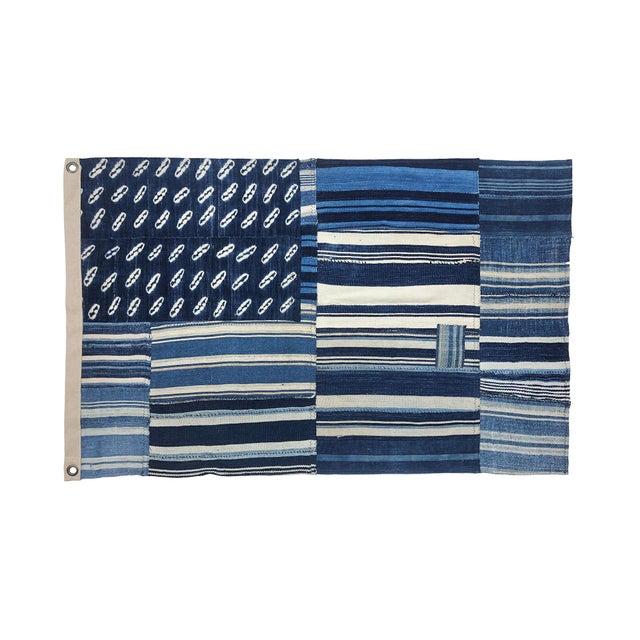 Early 21st Century Vintage Indigo Mudcloth Flag, Shibori Denim Patchwork, Blue For Sale - Image 5 of 5
