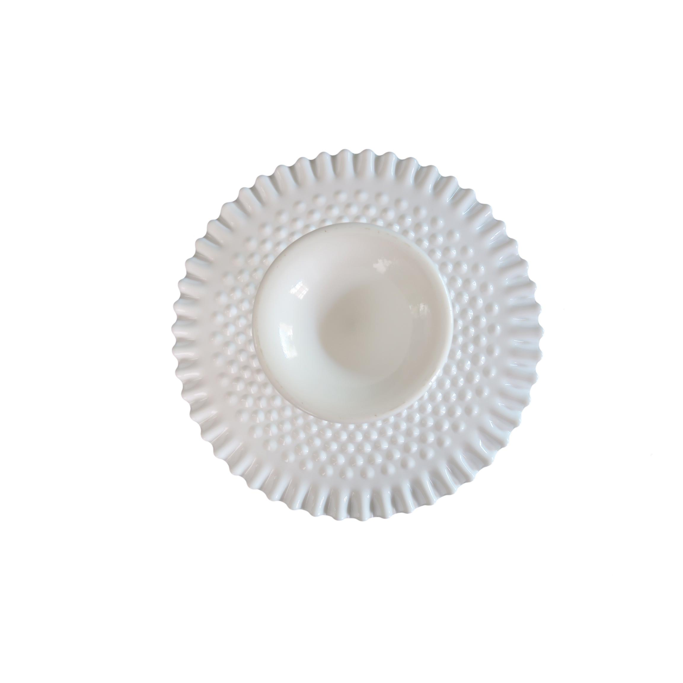 Vintage Fenton White Milk Glass Hobnail Round Fluted Cake Plate Stand - Image 2 of 5  sc 1 st  Chairish & Vintage Fenton White Milk Glass Hobnail Round Fluted Cake Plate ...