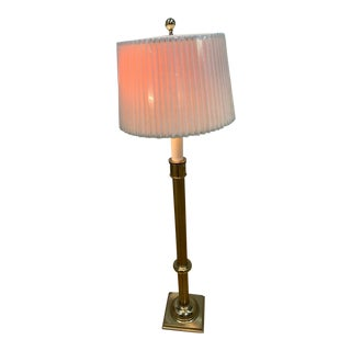 Antique Tommi Parzinger Style Brass Floor Lamp With Original Shade by Stiffel For Sale