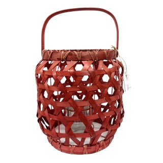 Red Rattan Lantern Candle Holder For Sale