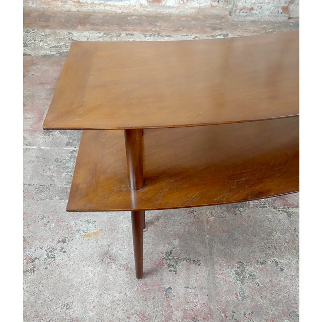 1960s Mid-Century Modern Walnut Two Tier Curvy Console For Sale - Image 10 of 12
